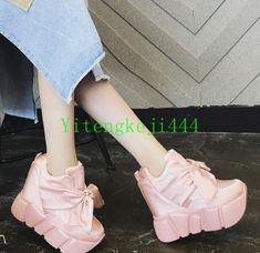 Womens Platform Wedges Super High Heel Chic Sneakers Satin Sport Ankle Boots New Punk Shoes, Super High Heels, Fenty Puma, Bow Sneakers, Casual Shoes, Ankle Boots, Platform, Wedges, Satin