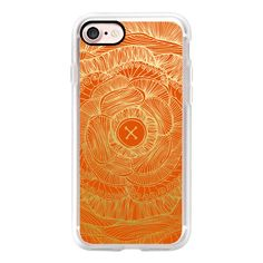 Brocade Orange and gold zentangle - iPhone 7 Case, iPhone 7 Plus Case,... (£32) ❤ liked on Polyvore featuring accessories, tech accessories, iphone case, apple iphone case, iphone cases, iphone cover case and gold iphone case