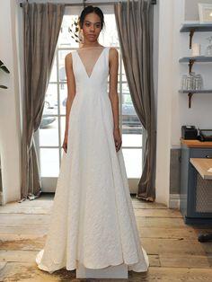 Lela Rose illusion V-neck A-line wedding dress