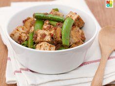 Easy stir fry recipe with sambal belachan, fried bean curd (tau kwa) and sugar snap peas.