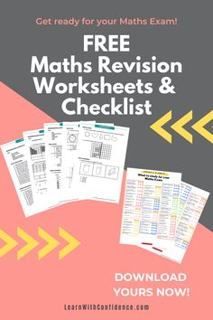 Get this set of Revision Worksheets (Memo included) covering ALL concepts and topics covered throughout the school year. PLUS, get this Checklist of What to study for your Maths Exam. Grade 4 - 6. What To Study, Maths Exam, Free Math Worksheets, Final Exams, Curriculum, Confidence, This Or That Questions, Learning, School