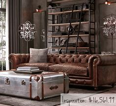 awesome 46 Awesome Rustic Industrial Living Room Design And Decor Ideas Living Room Sofa, Living Room Decor, Chesterfield Living Room, Manly Living Room, Chesterfield Sofas, Apartment Living, Leather Living Room Furniture, Leather Chesterfield, Brown Living Rooms