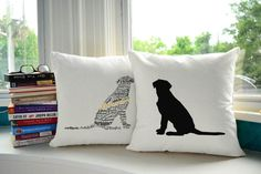 Typography Lab Dog Pillow Covers and or Cushions  Pet by RoomCraft