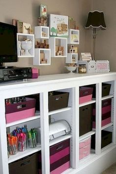 Best craft room storage and organization furniture ideas 00005 Craft Room Storage, Craft Organization, Craft Rooms, Storage Ideas, Scrapbook Organization, Organizing Tips, Storage Boxes, Space Crafts, Home Crafts