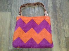Pink and Orange Chevron/Leopard Beach Towel Tote Bag by TreasuresbyKatieH on Etsy, $20.00