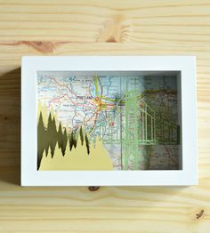 Portland Paper Cut Shadow Box | This adorable 5'' x 7'' shadow box features a map of Portland ... | Shadow Boxes