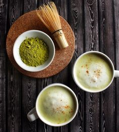 Matcha Almond Milk Lattes.  Unsweetened Organic Almond Milk, optional maple syrup, agave, organic cane sugar or coconut creamer.  Maybe try vanilla also.  Cgr 3/7/16