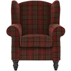 Orkney Tartan Patterned Accent Wing Chair (47.365 RUB) ❤ liked on Polyvore featuring home, furniture, chairs, accent chairs, plaid wingback chair, colored furniture, door furniture, colored chairs y plaid furniture