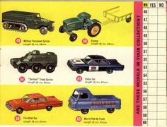 Matchbox Lesney 1964 catalog regular wheels 49, 50, 54, 55, 59, 60