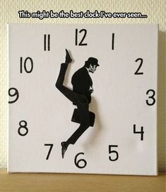 """Ministry Of Silly Walks"" Clock (referencing the famous Monty Python skit w/ John Cleese). Designer Susanne Lindberg was overwhelmed/overjoyed by the deluge of purchase requests (She never intended to mass produce the thing, and still cannot), so she posted a truly banging photo-rich tutorial on how to make one yourself. http://sillywalkclock.blogspot.se/"
