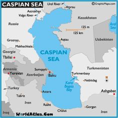 Map of the Caspian Sea and surrounding countries