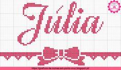 Gráficos de Nomes em Ponto Cruz: Nome Júlia em Ponto Cruz