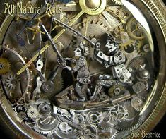 Watch Parts and Steampunk Jewelry and Sculptures by Sue Beatrice. All Natural Arts. Steampunk Animals, Hanging Clock, Old Watches, Pocket Watches, Coin Art, Art Watch, Steam Punk Jewelry, Art Sites, Miniature Dolls