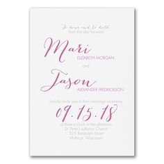 Just Your Type - Triple Thick Invitation - White