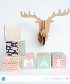 Adhesive Washi Nursery Blocks - a fun Silhouette project (& great baby shower gift idea!)