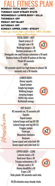 Free Fall Fitness Plan – At Home Workout Plan Fall Fitness Plan! A full workout plan balancing strength, cardio, flexibility and rest. It's easy to [. The Plan, How To Plan, At Home Workout Plan, At Home Workouts, Workout Plans, Workout Ideas, Weekly Gym Workouts, Exercise Plans, Workout Routines