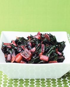 This recipe is so simple and delicious!!!  Sauteed Swiss Chard.  We devoured it!