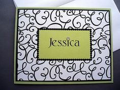 Designer Monogrammed Custom Name Notecard Stationery on Etsy, $16.50