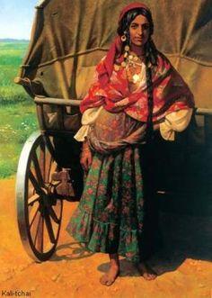 Gypsy with Wagon Painting Gypsy Girls, Gypsy Women, Gypsy Life, Gypsy Soul, Des Femmes D Gitanes, Mode Gipsy, Style Nomade, Gypsy Culture, Gypsy Caravan