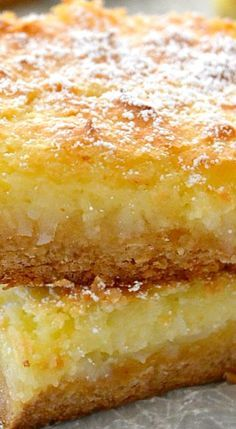 These are just like my most requested Recipe with coconut! These Coconut Cream Pie Gooey Bars are phenomenal! They taste just like a coconut cream pie but without the hassle of making a crust. Coconut Desserts, Coconut Recipes, Just Desserts, Delicious Desserts, Coconut Bars, Coconut Cheesecake, Coconut Cream Pie Bars Recipe, Lemon Cream Cheese Bars, Coconut Custard