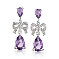 4.50 ct. t.w. Amethyst and .10 ct. t.w. Diamond Dangle Earrings in Sterling Silver #valentinesday