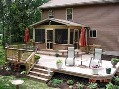 A lovely custom designed Timbertech deck with Screen Porch. This multi-level project features the Screen Porch and a large deck with access to a recessed Hot Tub. Note the accented railings on one side of project. Screened Porch Designs, Screened In Deck, Screened Porches, Fresco, Floating Deck, Pergola Plans, Pergola Ideas, Patio Ideas, Pergola Kits