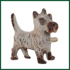 Möbelgriff HUND Terrier Shabby grau braun antik Wohnen + Dekoration Möbelknöpfe & Schrankgriffe