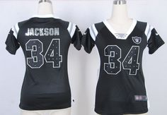 2013 Women Nike Oakland Raiders  34 Bo Jackson Black Fashion Rhinestone Sequins  Jerseys 0e0b63ba5