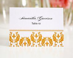 Orange Damask Wedding Placecards