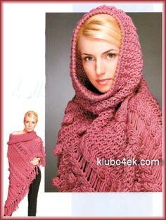 Розовое вязаное спицами пончо