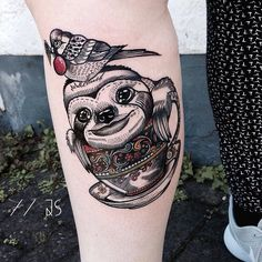 #Repost @jessicasvartvit  SLOFFEE TIME impossible to take a good picture but Super fun with my girl carina again !  #sloth #lineworktattoo #inkformer #tattoos #colors #teacup #tea #bird #coffee #cup #ink #inked