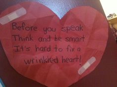 Words of Affirmation:  This is another example of the wrinkled heart analogy.  This teaches kids the results of hurtful words and explains to them in a concrete way why giving words of affirmation is so important.  I love the poem and band aids on this one!