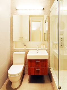 Bathroom, Wonderful Turtle Bay Loft Modern Bathroom With Sliding Glass Wall Modern Contemporary Bathroom: Elegant Vanities With Unique Designs for Small Bathroom