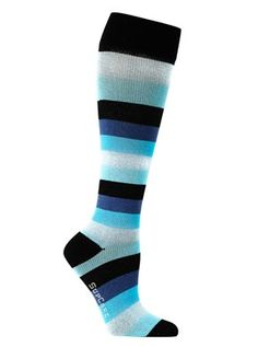 Compression stockings with ligthblue stripes
