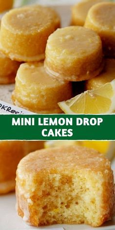 Mini Lemon Drop Cakes Recipe | 100kRecipes Lemon Drop Cake Recipe, Lemon Dessert Recipes, Lemon Recipes, Sweet Recipes, Baking Recipes, Cookie Recipes, Recipes For Lemons, Lemon Bites Recipe, Lemon Drop Cookies