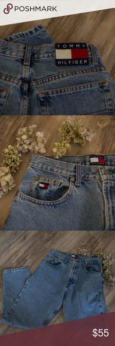 """Vintage 90's Tommy Hilfiger """"mom"""" Jeans Big Logo! THE HIGHLY DESIREABLE and elusive Tommy Hilfiger mom jeans! This is a true classic, with the vintage spell out logo right on the butt! Tag reads 8. Waist measures 29"""". There is the slightest spot on the right leg, but I haven't tried to get it out. not really noticeable in my opinion. But it may respond to OxyClean. From 1998. Style is Triple T! Tommy Hilfiger Jeans"""