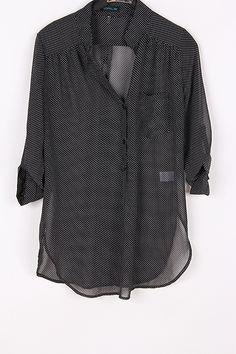 Polka Dot Chiffon Shirt in Black