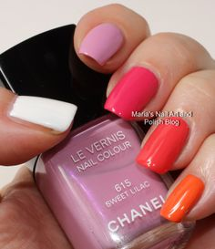 Chanel Reflets d'Été de Chanel summer 2014 collection preview - skittle swatches of Eastern Light, Sweet Lilac, Pink Tonic, Tuttifrutti and Mirabella