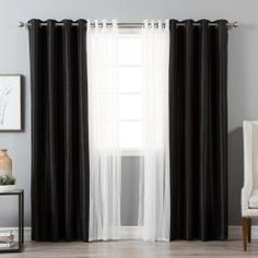 Best Home Fashion 84 in. L uMIXm Tulle and Black Faux Silk Blackout Curtain - The Home in. L uMIXm Tulle and Black Faux Silk Blackout Curtain Curtain track or curtain rod? The most common kinds of fastening for curtains are r. Black And Grey Curtains, Black Curtains Bedroom, Black White And Grey Living Room, Bedroom Black, Living Room Grey, Drapes Curtains, Bedroom Decor, Curtains Living, Bedroom Ideas