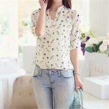 Moda Mujeres Damas Chifón Camiseta Floral Print Manga Larga Blusa Informal Prendas para el torso