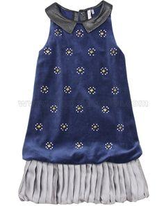 Deux par Deux Navy Velour Dress Make a Wish - Deux par Deux Fall Winter 2016 - Deux par Deux Boys and Girls Clothing - Moncouturier.com