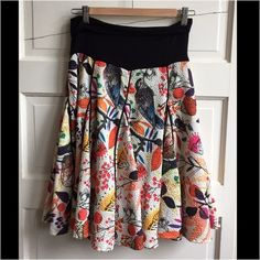 Amazing !!! Eva Franco for Anthropologie skirt. Colorful, vibrant, paneled, lined, full skirt with black cotton zipped waist with birds, insects, plants on textured off white fabric. Worn once. Anthropologie Skirts A-Line or Full