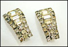 Rhinestone clip on earrings by serendipitytreasure on Etsy