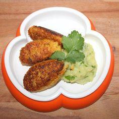 Rezept für Hirse-Karotten-Puffer mit Koriander-Kartoffelbrei - Baby-Led Weaning-geeignet und lecker für die ganze Familie.