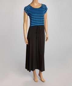Look what I found on #zulily! Royal Blue & Black Stripe Cap-Sleeve Maxi Dress by AA Studio #zulilyfinds