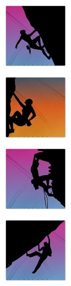 Rock climbing silhouette illustration duvets - sunsets and sunrise.