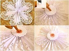 Flor de Leque, leque de papel decorado em formato de flor de leque, para decorar festa, mesa, paredes,