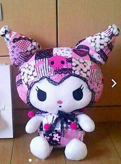 Kuromi Plush Doll Sanrio Japan Limited Kawaii Patchwork Stuffed My Melody NWT