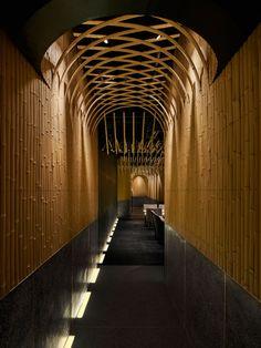 imafuku architects creates a bamboo canopy inside japanese restaurant in beijing Bar Interior, Restaurant Interior Design, Interior Office, Japanese Restaurant Interior, Detail Architecture, Interior Architecture, Restaurant Entrance, Bamboo Restaurant, Restaurant Exterior