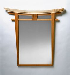 Torii Mirror – Curly Maple and Walnut by Bayley Wharton (Wood Mirror) Bayley Wharton Piedmont … Best Wood For Furniture, Japanese Furniture, Ikea Furniture, Repurposed Furniture, Wooden Furniture, Furniture Projects, Furniture Plans, Wood Projects, Furniture Design